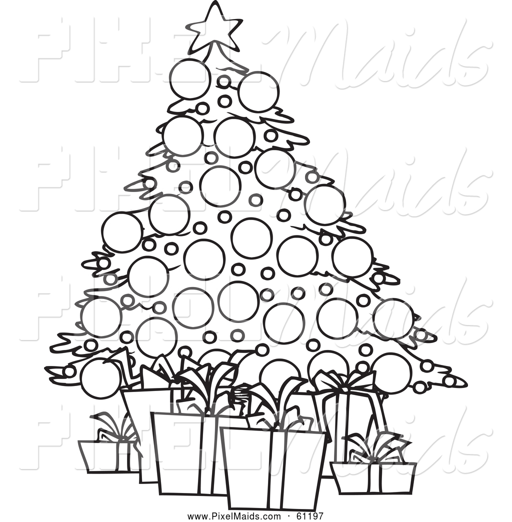 Clipart of a Black and White Christmas Tree and Gifts by ...