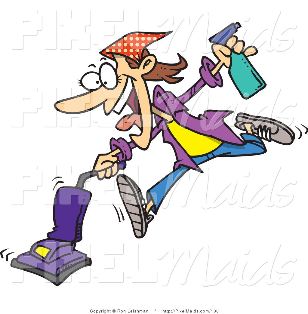 Crazy Woman Cartoon Clipart of a cartoon crazy spring cleaning woman ...