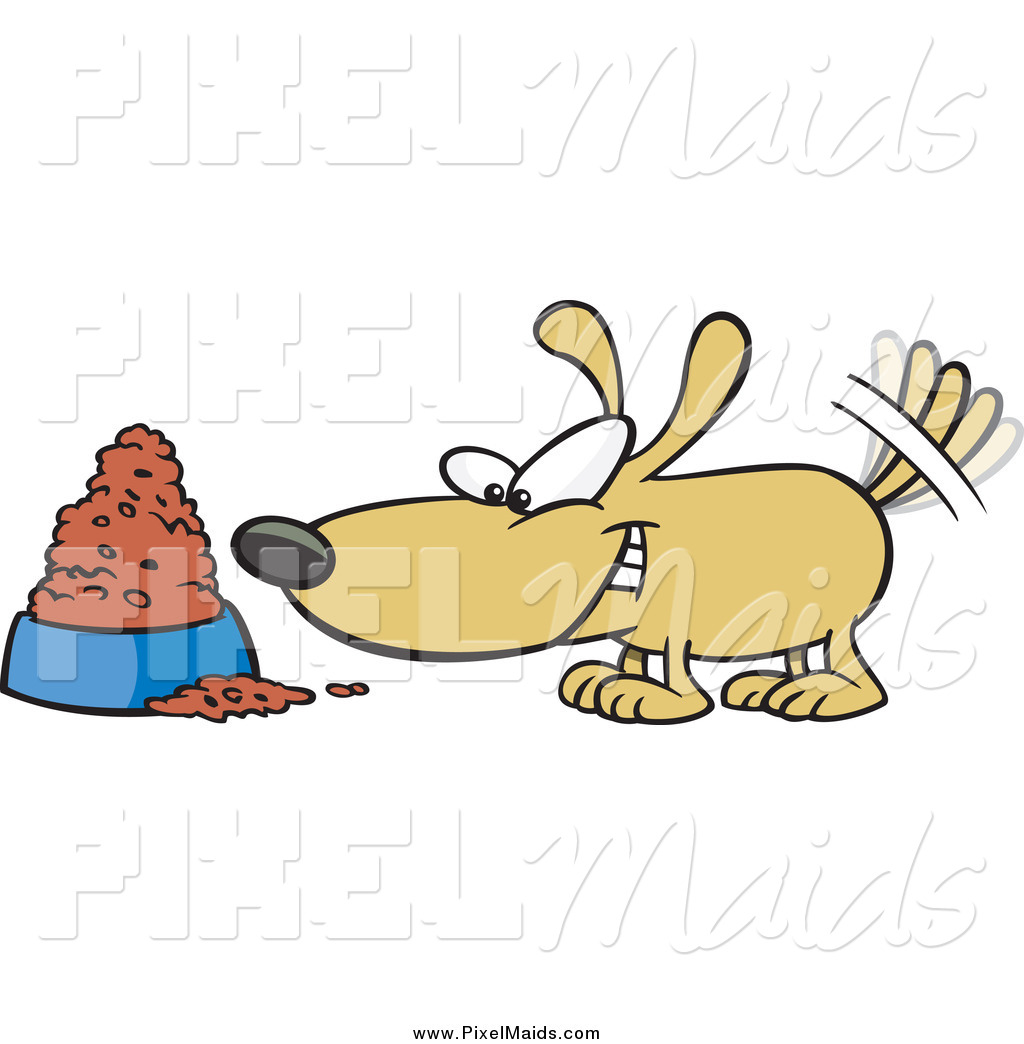 clipart of a cartoon happy dog wagging his tail by a food