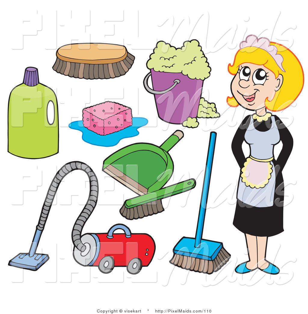 Clipart of a Digital Collage of a Maid and Cleaning Items on White by ...