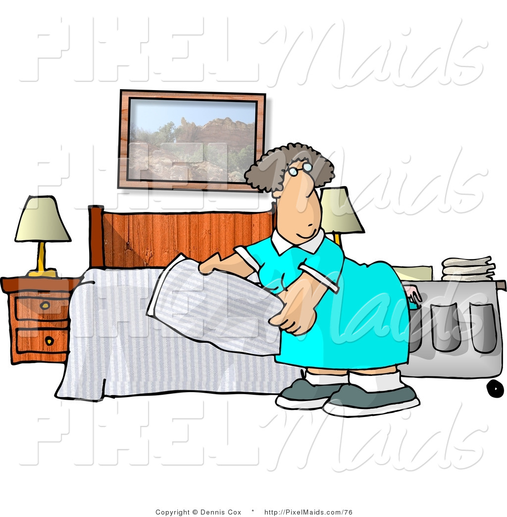 Clipart of a Female Housekeeper Making a Hotel Bed by djart - #76
