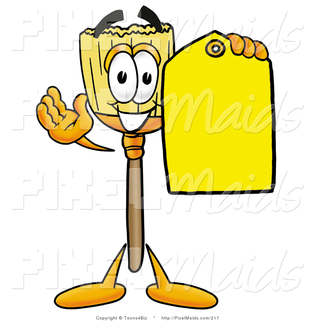 Cartoon Characters Yellow : Clipart of a friendly broom mascot cartoon character
