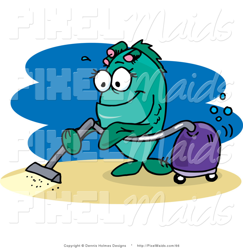 Clipart of a Green Female Fish Vacuuming the Ocean Floor by Dennis ...
