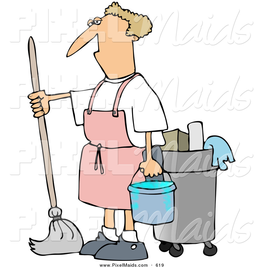 Clipart of a Grumpy Janitor Man Mopping in a Pink Apron by djart ...