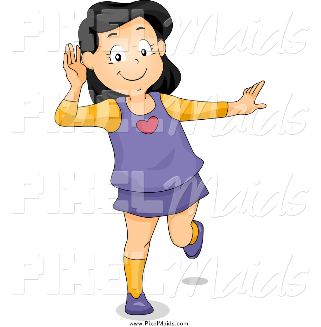 Clipart of a Happy Girl Covering Her Ear and Listening by ...
