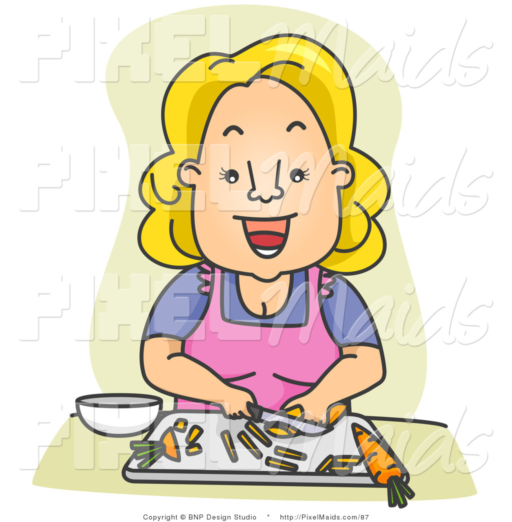 Larger Preview: Clipart of a Happy Woman Chopping Carrots by BNP ...