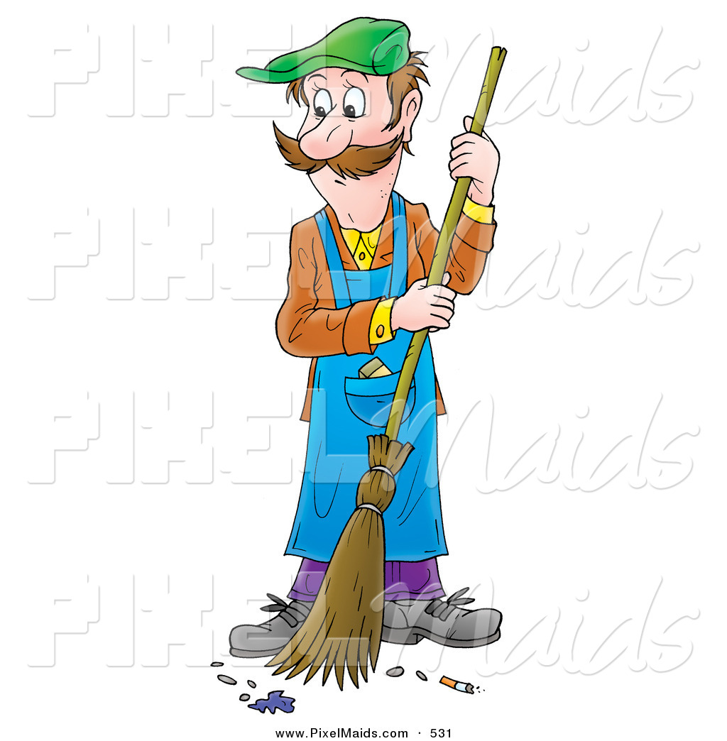 Clipart of a Man in Overalls Sweeping a Floor by Alex Bannykh - #531