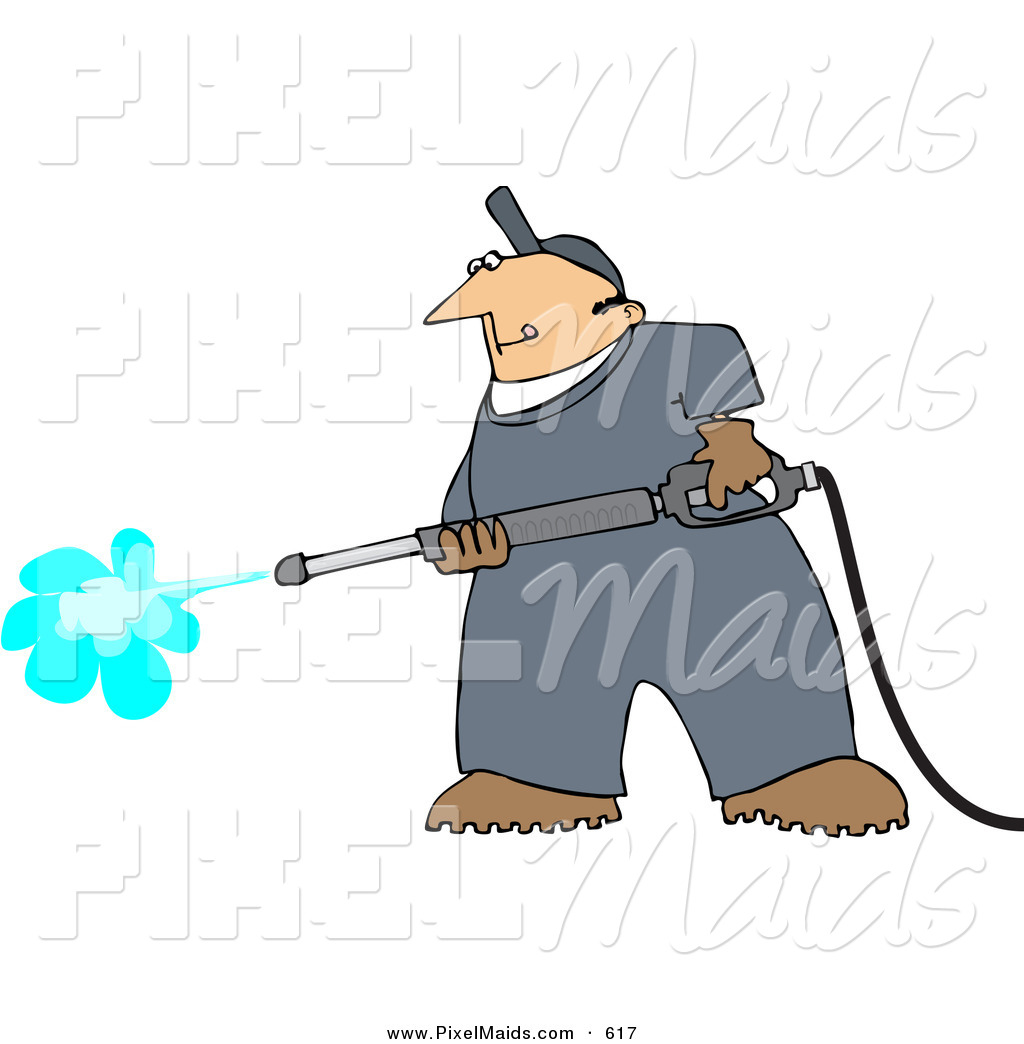 Clipart of a Pressure Washer Man Cleaning Something by ...