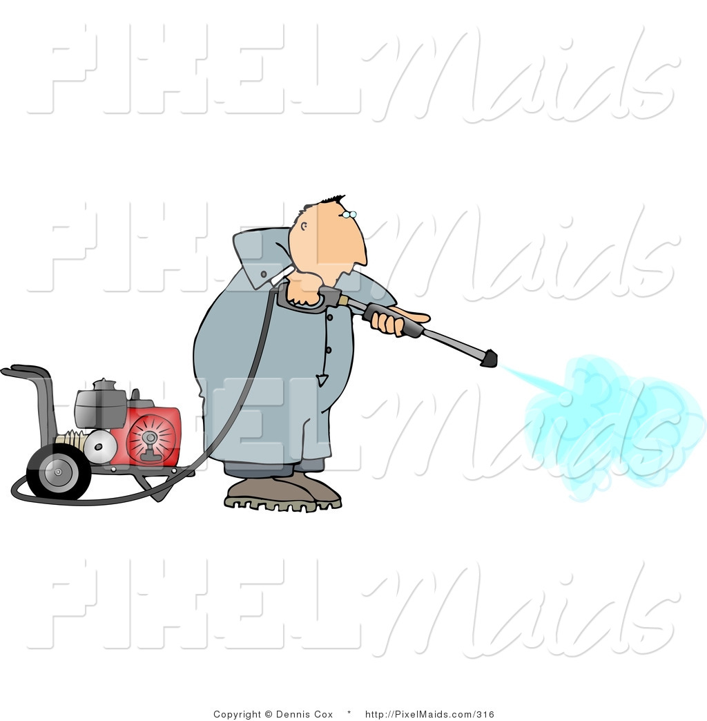 Clipart of a professional man cleaning with a heavy duty gas powered