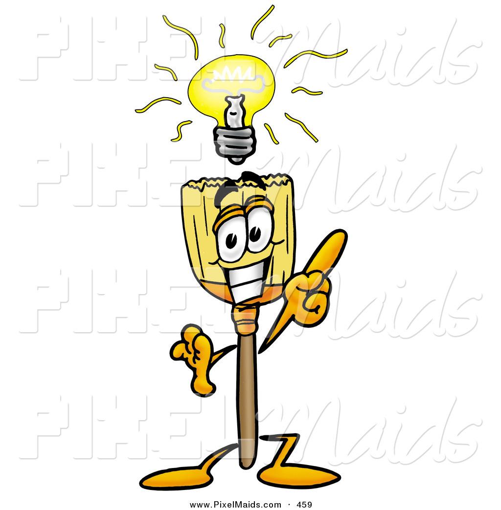 Cartoonsmart Character Design : Clipart of a smart broom mascot cartoon character with