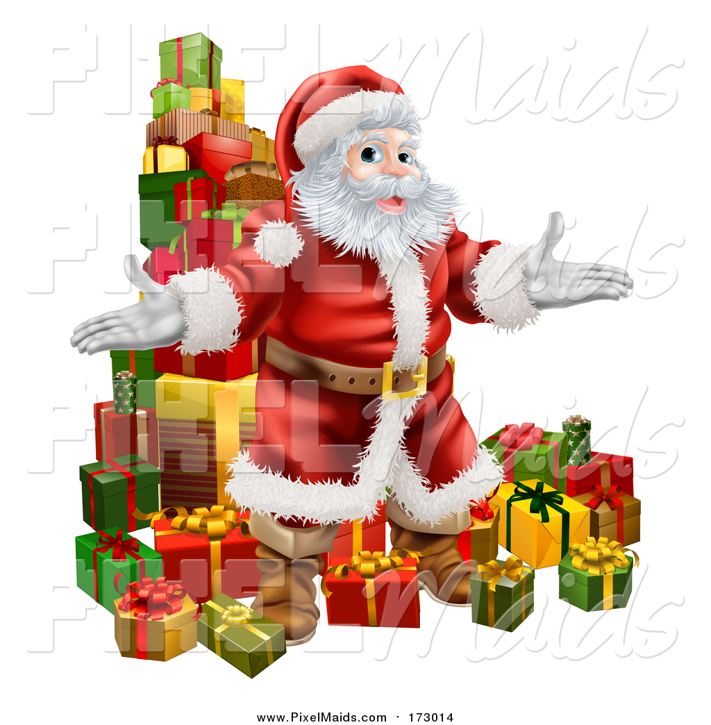 clipart of a welcoming christmas santa claus and stack of presents