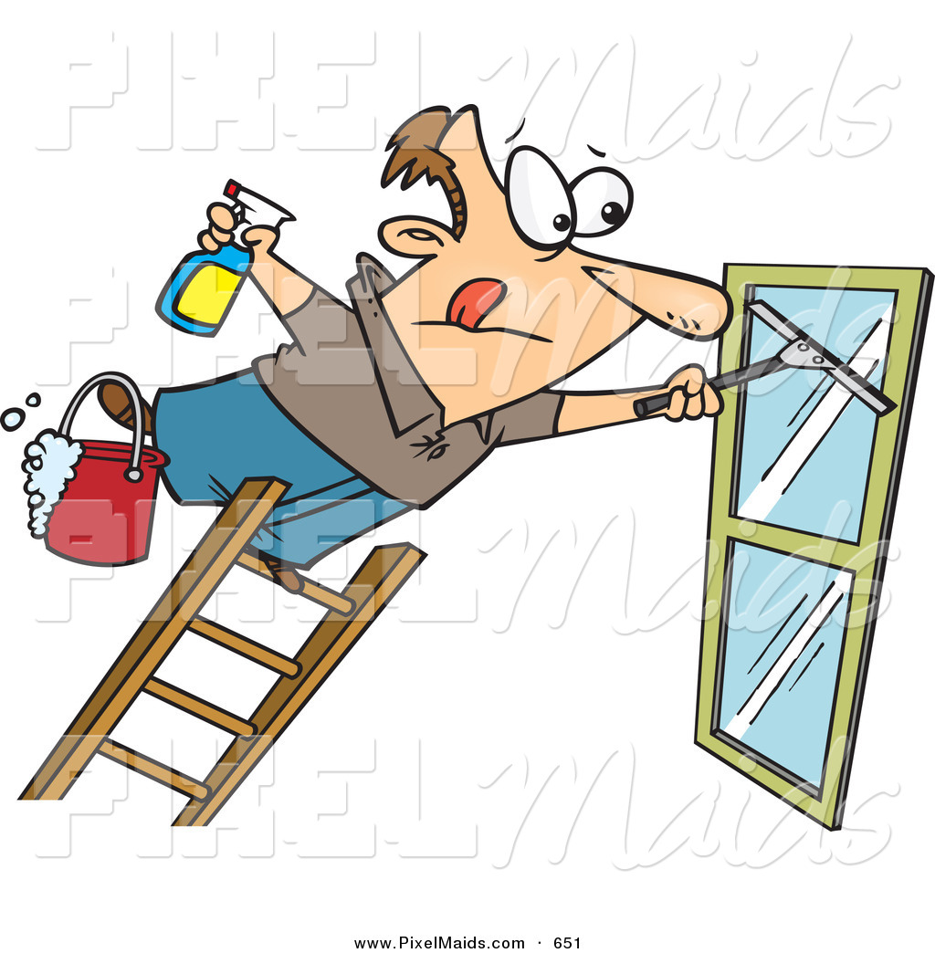 Clipart Of A Window Cleaner Leaning Unsafely Far Over A