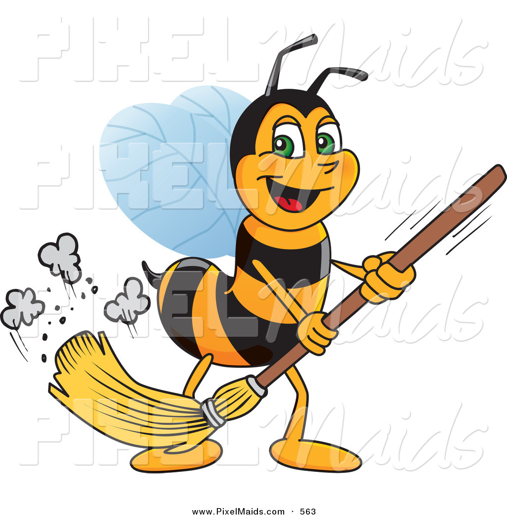Clipart Of A Worker Bee Character Mascot Sweeping The Floor