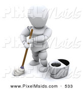 Clipart of a 3d White Janitor Character Using a Mop and Standing by a Bucket by KJ Pargeter