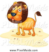 Clipart of a Angry Lion on Sand by Graphics RF