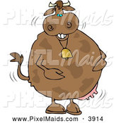 Clipart of a Anthropomorphic Chubby Laughing Cow Wearing a Bell by Djart