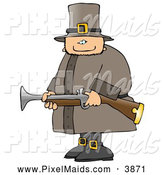Clipart of a Armed Thanksgiving Pilgrim Man Hunting Birds by Djart