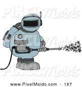 Clipart of a Astronaut in a Space Suit, Operating a Power Washer and Spraying out Stars on White by Djart