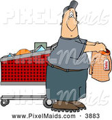 Clipart of a Average Man Shopping for Underwears by Djart