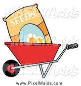 Clipart of a Bag of Seeds in a Wheel Barrow by Hit Toon