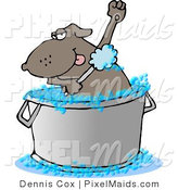 Clipart of a Bathing Brown Dog in a Large Wash Tub by Djart
