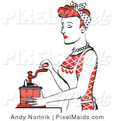 Clipart of a Beautiful Housewife with Red Hair or Maid Woman Using a Manual Coffee Grinder by Andy Nortnik