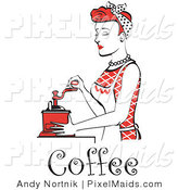 Clipart of a Beautiful Red Haired Housewife or Maid Woman Using a Manual Coffee Grinder, with Coffee Text by Andy Nortnik