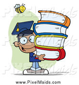 Clipart of a Bee over a Happy Black Graduate School Boy Carrying Books by Hit Toon