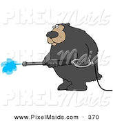 Clipart of a Big Bear Operating a Power Washer and Looking Left by Djart