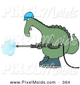 Clipart of a Big Green Dinosaur in a Hard Hat and Boots Operating a Pressure Washer by Djart