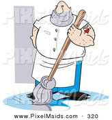 Clipart of a Big Hairy Caucasian Man with a Mom Heart Tattoo on His Arm, Mopping a Dirty Floor by Andy Nortnik
