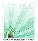 Clipart of a Big Top Tent Circus and Banners over Green Rays by Graphics RF