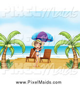 Clipart of a Bikini Woman Posing on a Beach with Chairs by Graphics RF