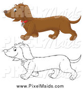Clipart of a Black and White and Colored Happy Doxie Dog Walking by Alex Bannykh