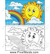 Clipart of a Black and White and Colored Suns and Rainbows by Visekart
