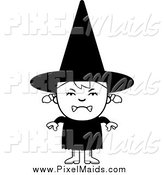 Clipart of a Black and White Angry Halloween Witch Girl by Cory Thoman