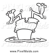Clipart of a Black and White Bad Diver Wiggling His Legs by Toonaday