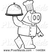 Clipart of a Black and White Chef Pig Carrying a Platter by Cory Thoman