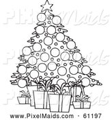 Clipart of a Black and White Christmas Tree and Gifts by Toonaday
