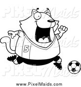 Clipart of a Black and White Chubby Cat Soccer Player by Cory Thoman