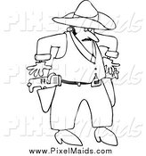 Clipart of a Black and White Cowboy Drawing Tasers by Djart