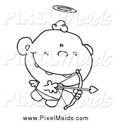 Clipart of a Black and White Cupid with Halo by Hit Toon