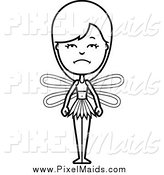 Clipart of a Black and White Depressed Female Fairy by Cory Thoman