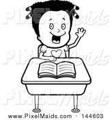 Clipart of a Black and White Girl Raising Her Hand at Her Desk by Cory Thoman
