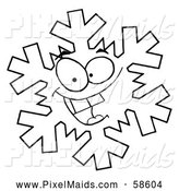 Clipart of a Black and White Grinning Snowflake by Hit Toon