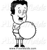 Clipart of a Black and White Happy Black Boy Holding a Burst Seal by Cory Thoman
