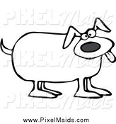 Clipart of a Black and White Happy Dog Panting by Djart