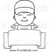 Clipart of a Black and White Happy Painter Boy Smiling over a Blank Ribbon Banner Sign by Cory Thoman