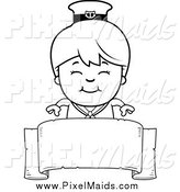 Clipart of a Black and White Happy Sailor Boy over a Ribbon Banner Sign by Cory Thoman