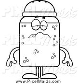 Clipart of a Black and White Ill Salt Shaker by Cory Thoman